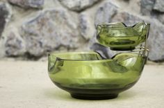 Jam Made Retro Collection - Green Glass chip n' dip bowl