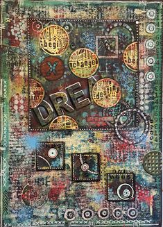 StencilGirl Products - So much amazing creativity from Seth Apter's recent workshop in the UK sponsored by PaperArtsy! We spy LOTS of Seth's stencil in there! SEE MUCH MORE at http://thealteredpage.blogspot.com/2016/09/make-it-your-own-6.html!