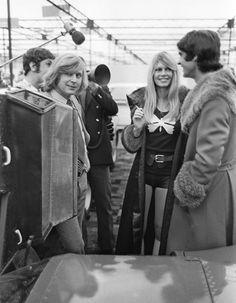 Brigitte Bardot with racing drivers François Cevert and Johnny Servoz-Gavin, 1971
