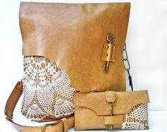 XL Leather Messenger Bag & Credit Card Wallet Set by UrbanHeirlooms credit cards XL Leather Boho Messenger Bag & Credit Card Wallet Set with Crochet Lace and Antique Key - MADE to O Crochet Vintage, Crochet Lace, Cles Antiques, Lace Bag, Antique Keys, Boho Bags, Credit Card Wallet, Brown Leather, Leather Bags