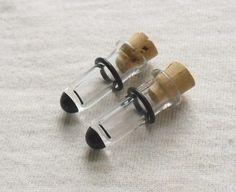 Black Tip Test Tube Plugs 00g gauged ear plugs by ICNaughtyGlass, $29.50