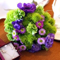 Bouquet for purple and green wedding.  Nice flowers and great colours.