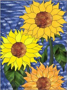 Stained Glass Sunflower Panel ~ French Countryside Decor * | CreativeArtglass - Glass on ArtFire