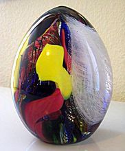 Seguso Viro Murano Magnum Paperweight with Merletto Signed with Box