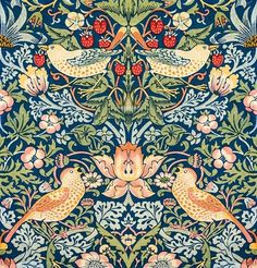 William Morris Patterns, William Morris Art, Vintage Floral, Vintage Art, Poster Vintage, Vintage Prints, The Strawberry Thief, Natural Pillows, Arts And Crafts Movement