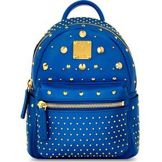 MCM Stark special Bebe-Boo leather backpack ($1,110) ❤ liked on Polyvore featuring bags, backpacks, munich blue, leather zip backpack, genuine leather backpack, mcm, leather bags and leather studded backpack