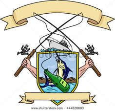 Drawing sketch style illustration of hand holding fishing rod and reel hooking a beer bottle and blue marlin fish with deep sea fishing boat on side inside crest shield shape coat of arms retro style