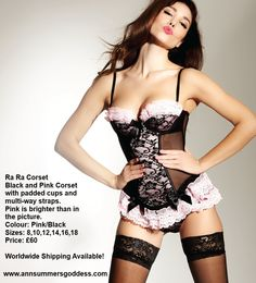 Re-pin!  Ann Summers Ra Ra #Corset. Black and Pink Corset with padded cups and multi-way straps. Sizes 8-18 Price: £60.00  #lingerie #clothing Visit http://www.annsummersgoddess.com