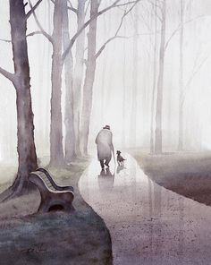Walk In The Park Art print of watercolor painting by Master Artist T. Chiu Old man and dog Trees Park Bench Art Aquarelle, Art Watercolor, Watercolor Landscape, Art Et Illustration, Illustrations, Park Art, Chiaroscuro, Art Design, Modern Design