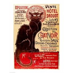 Poster advertising an exhibition of the Collection du Chat Noir Cabaret Canvas Art - Theophile-Alexandre Steinlen (18 x 24)