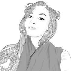 dessin, fille, cheveux