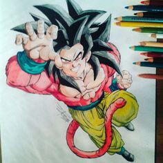 Prismacolor colored pencil drawing of Goku SSJ4. Follow me on Instagram and YouTube. :D
