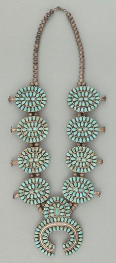 turquoise squash blossom necklace. #NativeAmericanJewelry
