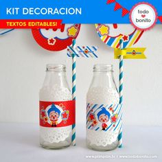 Plim Plim: decoración de fiesta para imprimir Circus Birthday, 2nd Birthday, Happy Birthday, Fiesta Party, Some Ideas, Ideas Para, Birthdays, Water Bottle, Party Kit