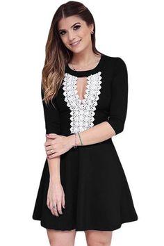 b455888a7d Crochet Lace Keyhole Stylish Black Skater Dress MB22746-2 All Black Outfit