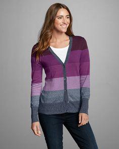 Women's Christine V-neck Cardigan Sweater - Stripe   Eddie Bauer