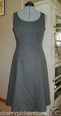 Ralph Lauren Gray Wool Blend Sleeveless Shift Dress sz 8 Lined Blue Label