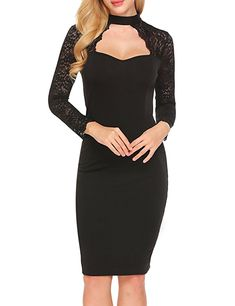 aadfecb9eda3 Zeagoo Womens Elegant Floral Lace Long Sleeves Bridesmaid Midi Dress Black  M ** See this great product.