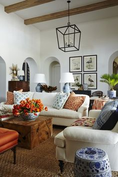 Coastal Living Room in Fort Myers, FL by Summer Thornton Design