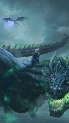 Wallpaper - Daenerys Targaryen, Dragon ride, game of thrones, digital art, wallpape. Arte Game Of Thrones, Game Of Thrones Dragons, Mythical Creatures Art, Magical Creatures, Fantasy World, Dark Fantasy, Dragon Pictures, 4k Pictures, Dragon Images