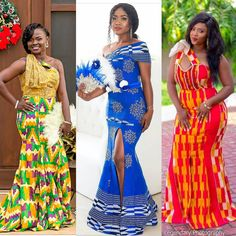 See the Latest Kente Styles Ghana - Wedding And Engagement Latest African Fashion Dresses, African Dresses For Women, African Print Dresses, African Attire, African Wear, African Women, African Outfits, Ankara Fashion, African Prints