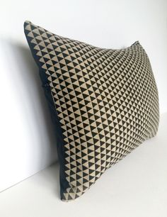 Linen Black Triangle Print Cotswold Cushion - Angle