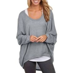 Women Plus Size Loose Batwing Sleeve Soild T-shirt ($13) ❤ liked on Polyvore featuring tops, t-shirts, loose fit t shirts, plus size tees, plus size tops, loose fit tee and womens plus tops