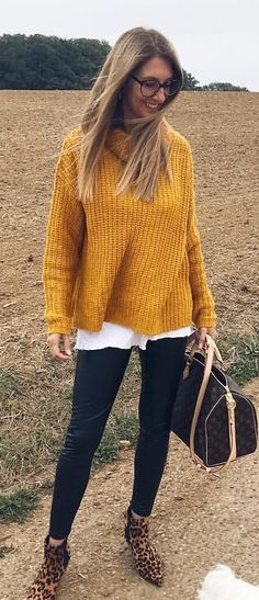 #fall #outfits yellow cardigan.