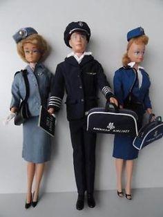 Barbie poppen/ Piloot Ken + stewardessen /jaren 60 vintage