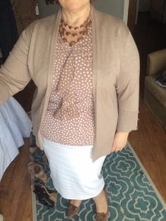 Ivory Pencil Skirt with Taupe Polka Dot Top