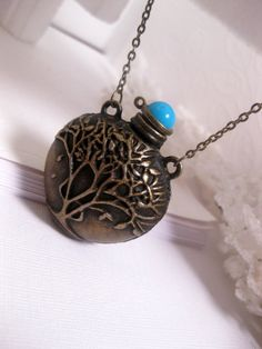 Tree Of Life Magic Potion Bottle Necklace In Antiqued Bronze