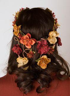 Bohemian Flower Crown - Cascading Veil of Fall Colored Flowers - Woodland Wedding Wreath
