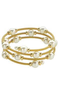 Jewelry Design - Memory Wire Bracelet with Glass Pearl Beads, Gold-Plated Brass Beads and Rubber Cord - Fire Mountain Gems and Beads