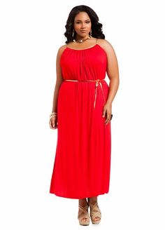 024d331723f Ashley Stewart Women s Plus Size Jersey Sleeveless Maxi with Gold Tie Belt  Red Coat 26