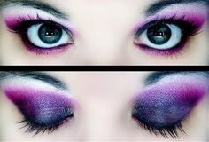 Beautiful fuchsia eye shadow.  Love the way the purple eye shadow has been blended here.  Don't you?