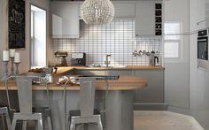 planar grey magnet - the corner unit Kitchen Corner Units, Small Kitchen Diner, Kitchen Family Rooms, Kitchen Ideas Magnet, Wren Kitchen, Kitchen Reviews, Grey Kitchen Cabinets, Kitchen Worktops, Cool Kitchens