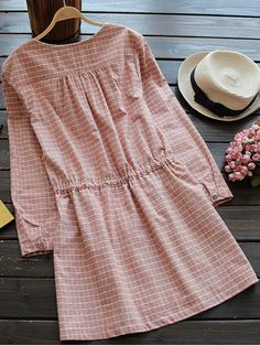Drawstring Round Neck Checked Button Up Dress - SPICE ONE SIZE Mobile