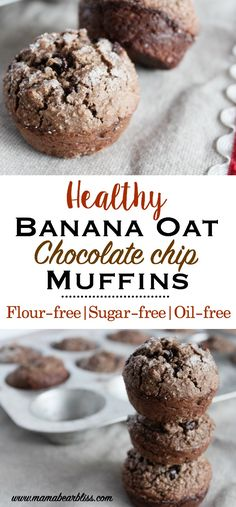 Healthy Banana Oat Chocolate Chip Muffins Flour-free, no sugar, and oil-free easy and healthy breakfast muffins that are delicious and packed with protein. Chocolate Oats, Banana Chocolate Chip Muffins, Banana Oats, Chocolate Chips, Banana Oat Cookies, Muffins Sains, Healthy Breakfast Muffins, Healthy Banana Oat Muffins, Healthy Chocolate Muffins
