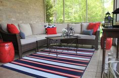 My Americana Screened Porch - Domestic Charm Porch Decorating, Interior Decorating, Blue Patio, Patio Rugs, House Inside, Indoor Outdoor Rugs, House Tours, Home Remodeling, Outdoor Furniture Sets