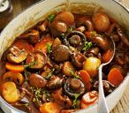 Make this flavoursome and hearty vegetarian stew for an easy family meal. For this recipe and more family friendly food visit Tesco Real Food online. Vegetarian Stew, Vegetarian Recipes, Cooking Recipes, Healthy Recipes, Mushroom Bourguignon, Bourguignon Recipe, Mushroom Recipes, Veggie Recipes, Savoury Recipes