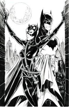 Batman and Catwoman Joe Benitez and Joe Weems Comic Art
