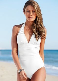 Ruched halter one piece