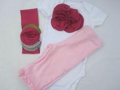 Little Bundle Set, Baby Girl Onesie, Pants And Headband Gift Set,  Pink Flower Cluster, Embellished, 3 Month. $43.00, via Etsy.