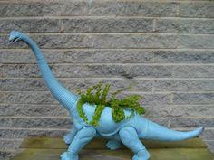 Indie Craft: Make a Dinosaur Planter Diy Upcycled Toys, Diy Upcycled Planters, Diy Garden, Garden Projects, Garden Planters, Outdoor Projects, House Projects, Garden Art, Make A Dinosaur