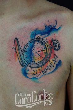 WATERCOLOR CLOCK - RELOJ ACUARELADO Caro cortes Colombian tattoo artist. carocortes.tumblr.com www.carocortes.com/ #clock #tattoo #watercolor #artist #carocortes #reloj #female #colombian #tatuadora