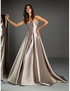 A-Line Sweetheart Neckline Sweep / Brush Train Satin Open Back Formal Evening Dress with by LAN TING Express