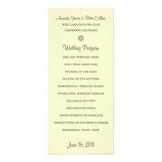 Simple Wedding Programs (Cream) Customized Rack Card