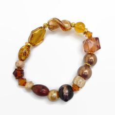 Brown and Gold Plated Elasticated Bracelet  £4.00