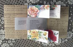 """""""Roses"""" flag book, open. Poems and roses, handwritten lovelies...perfect bridesmaid gift or card"""