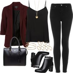 A fashion look from November 2014 featuring strappy tank, three quarter sleeve blazer and high waisted stretch skinny jeans. Browse and shop related looks. Girls Fashion Clothes, Teen Fashion Outfits, Look Fashion, Fall Outfits, Cute Casual Outfits, Stylish Outfits, Look Skater, Character Outfits, Korean Outfits